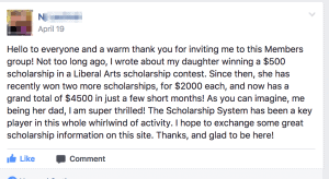How daughter won a scholarship