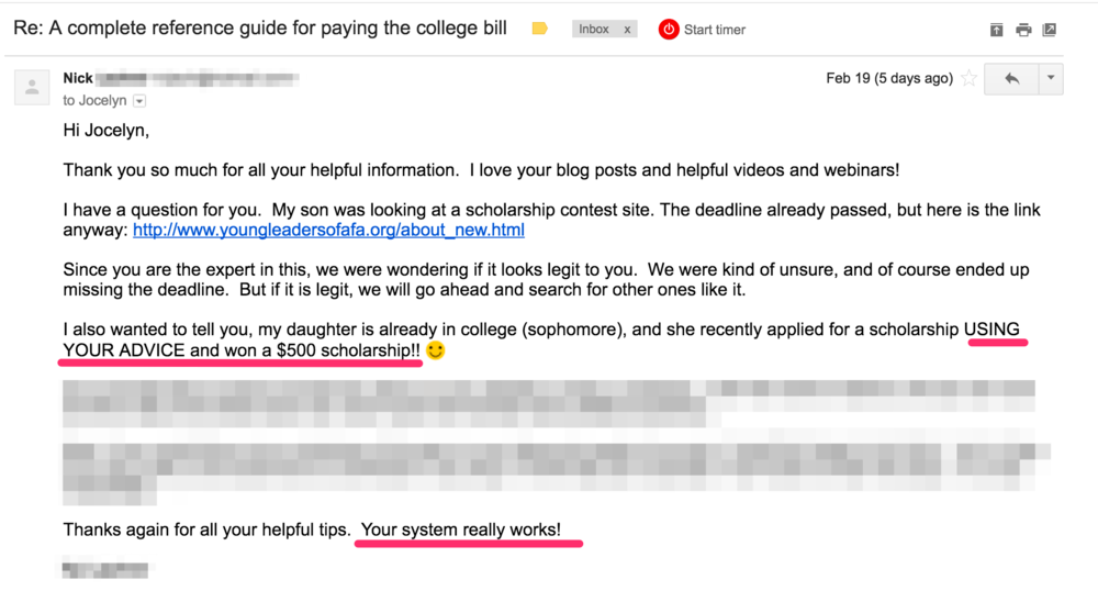 Email from a user of The Scholarship System