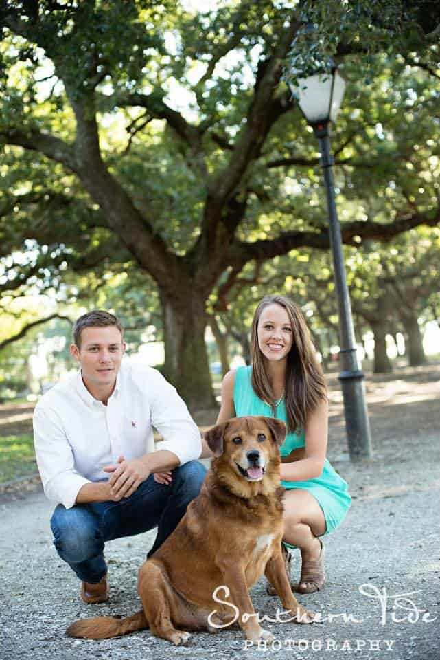 Jocelyn with her husband, Donny, and their pleasantly plump rescue dog, Jaffe.