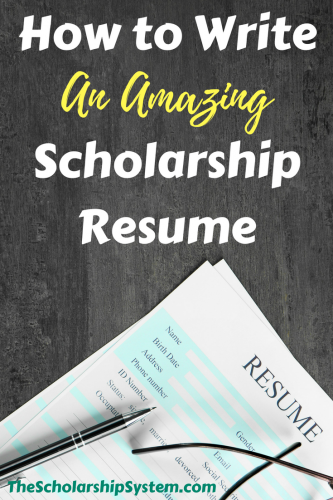 Resume Tips. Writing A Scholarship ...