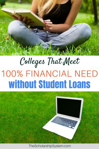Most students believe loans are a standard part of every college's financial aid package. But there are colleges that meet 100% financial need without them.