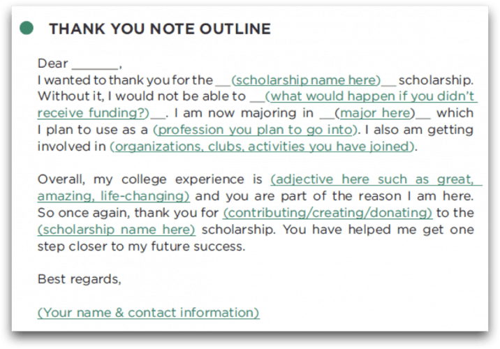 How to write a scholarship thank you letter the scholarship system scholarship thank you note expocarfo Image collections