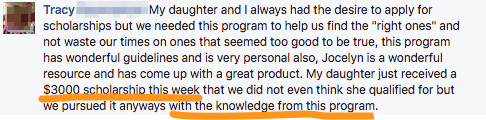 """My daughter just received $3,000... with the knowledge from this program."" - Tracy"