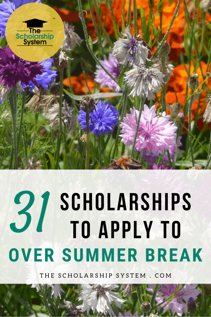 Summer break is not a time to STOP thinking about college funding. Here are 31 scholarships to apply for over the summer break.