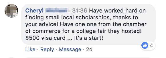 $500 scholarship with my advice Cheryl blurred name